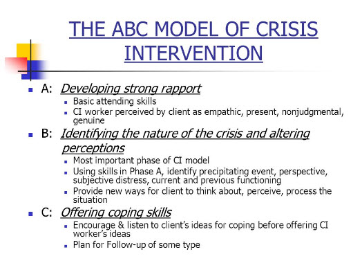 essay abc model crisis intervention The abc model of crisis intervention prevention and crisis intervention unit 5 9/25/2012 the abc model of crisis intervention is a method created by gerald caplan and eric lindemann in the 1940s the purpose of this crisis intervention method is to conduct a brief mental health interviews with clients whose functioning level has been lowered.